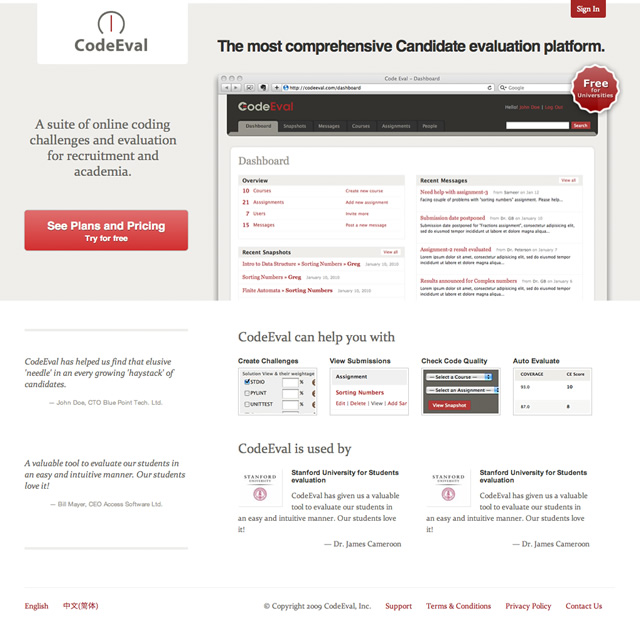 CodeEval homepage